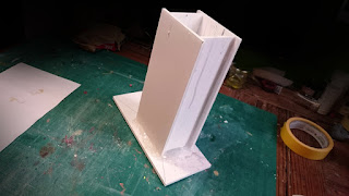 The completed mold box constructed from foam board
