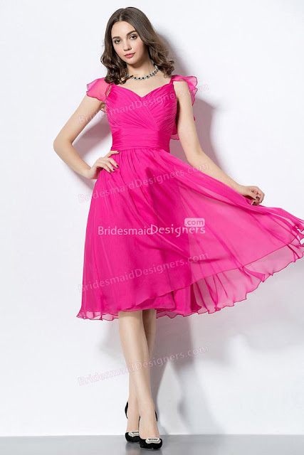 Fuchsia V-neck Pleated Short Chiffon Bridesmaid Dress with Puff Sleeves