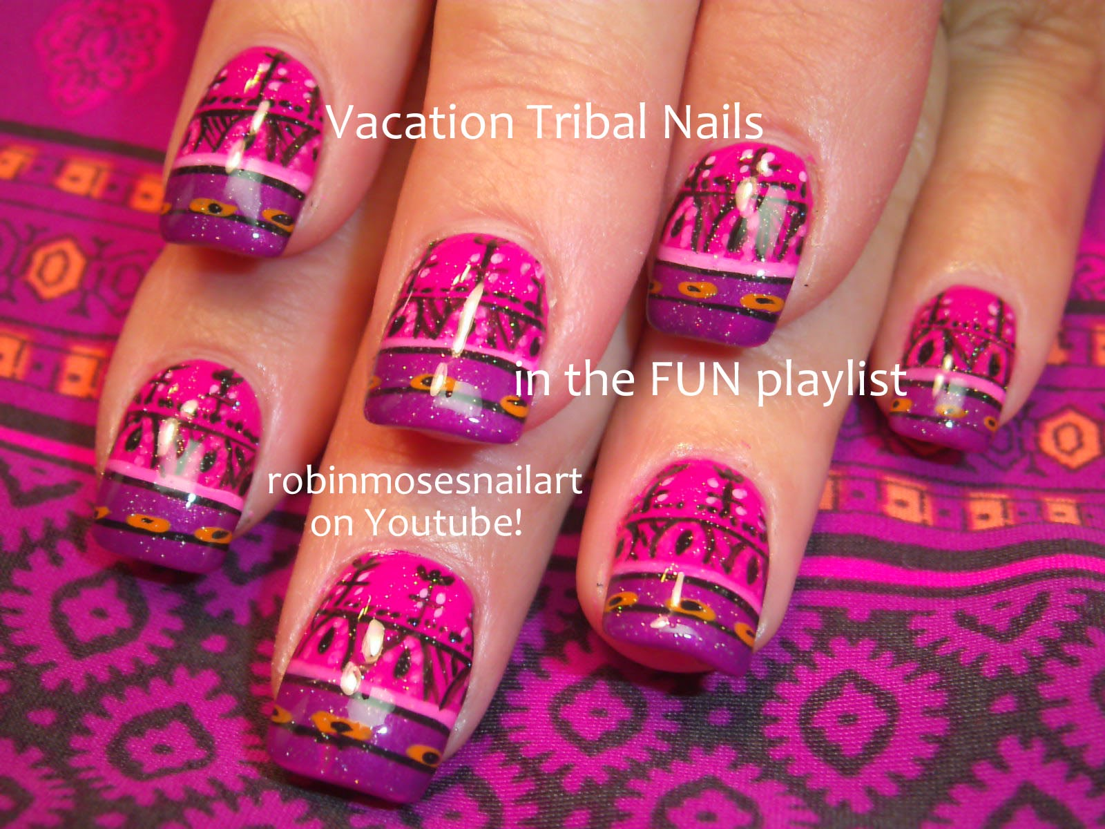 Nail Art By Robin Moses Tribal Nails Nail Art Diy Nails