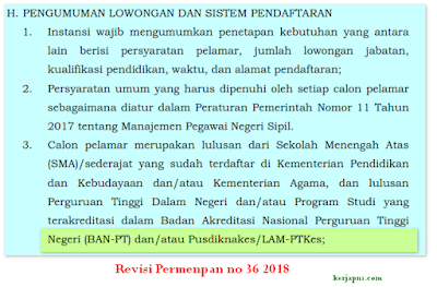 Revisi Permenpan RB 36 2018