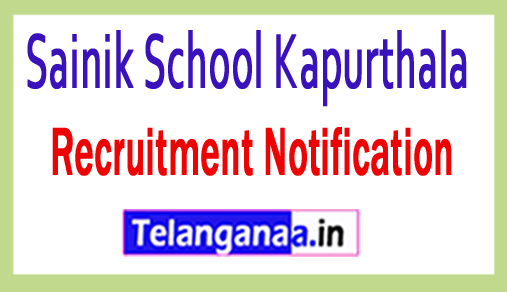 Sainik School Kapurthala Recruitment