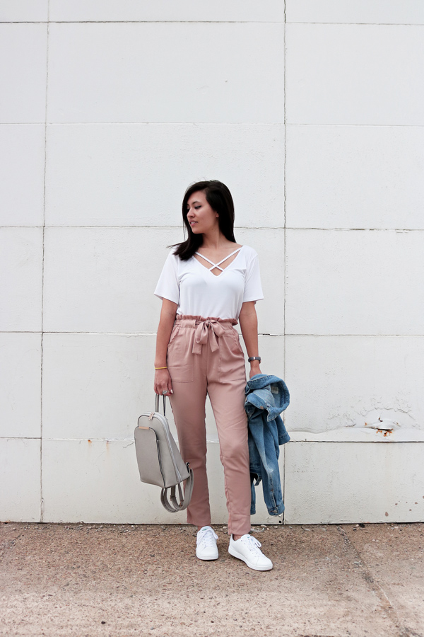Blush Pink Pants, White Criss Cross T-shirt, White Shoes, Spring Outfit