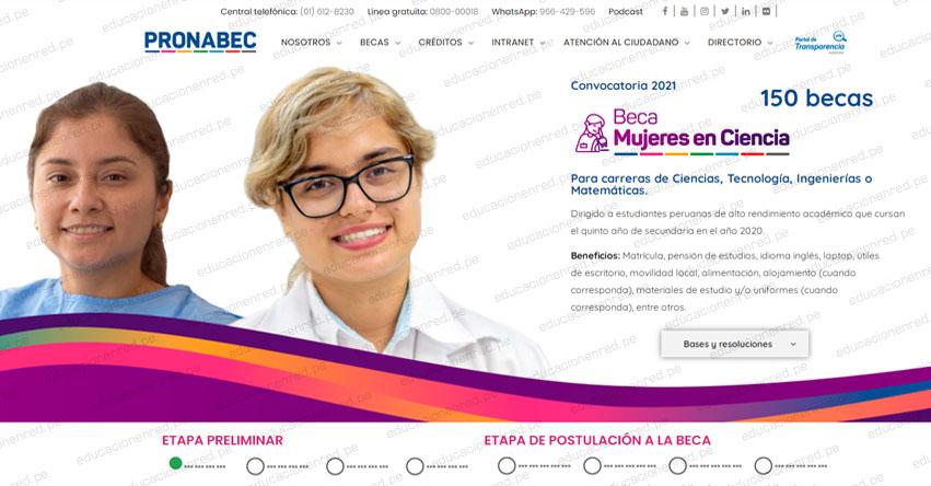 PRONABEC aplaza hasta octubre inscripción al concurso Beca Mujeres en Ciencia