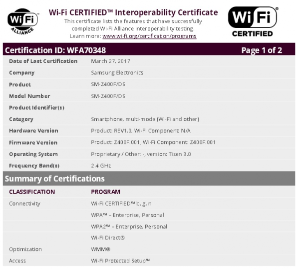 samsung z4 gets wifi certified