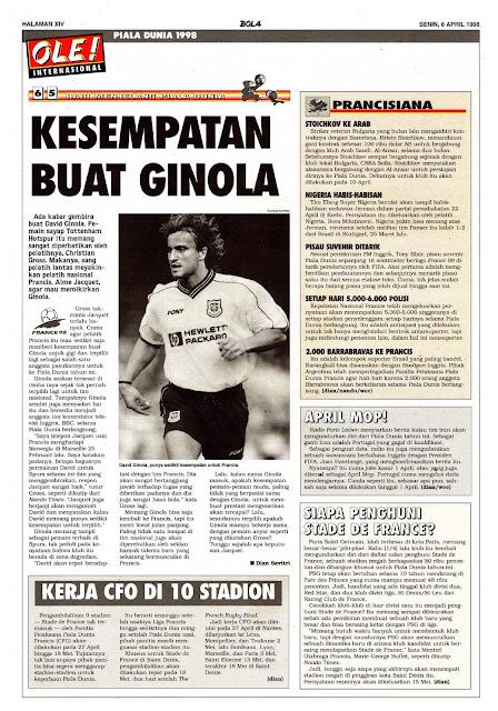 WORLD CUP 1998 DAVID GINOLA TOTTENHAM HOTSPUR