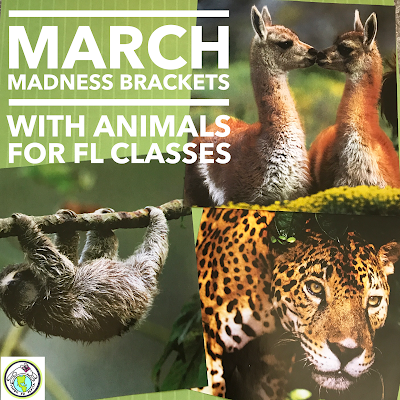 March Madness Brackets with Animals for FLES Spanish and French
