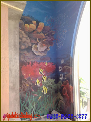 Mural Lukis Dinding Pemandangan bawah laut