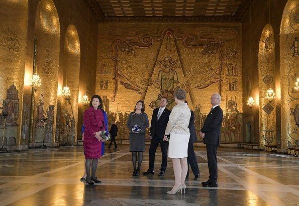 King Carl Gustaf, Queen Silvia, Prince Daniel, Prince Carl Philp, Eva-Louise Erlandsson, Mayor Karin Wanngård, President Gudni Thorlacius Johannesson and First Lady Eliza Jean Reid