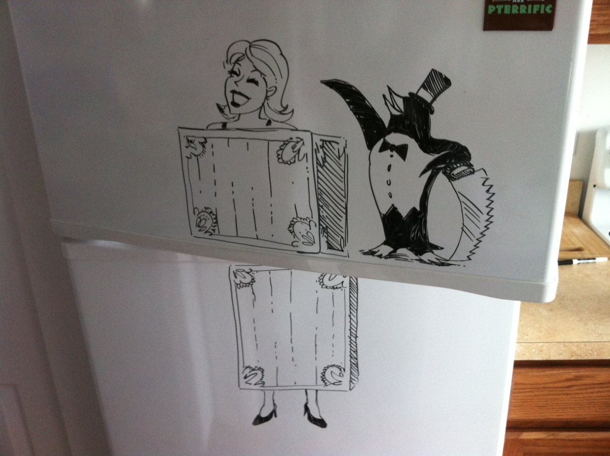 08-The-Penguin-Magician-Charlie-Layton-Freezer-Door-Drawings-and-Illustrations-www-designstack-co