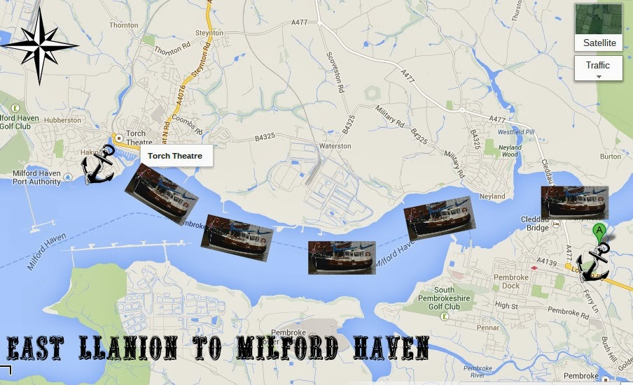 East Llanion to Milford Marina boat Map Pembrokeshire