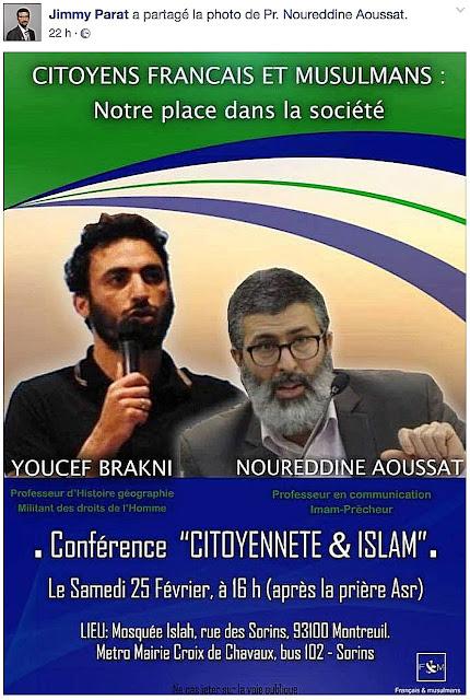 """Affiche pour un meeting politique dans une mosquée du parti """"Français ET Musulmans"""""""