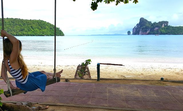 Girl on the swing Wonderful Scenery Phi Phi Islands Travel Photography Guide Blogger in Thailand