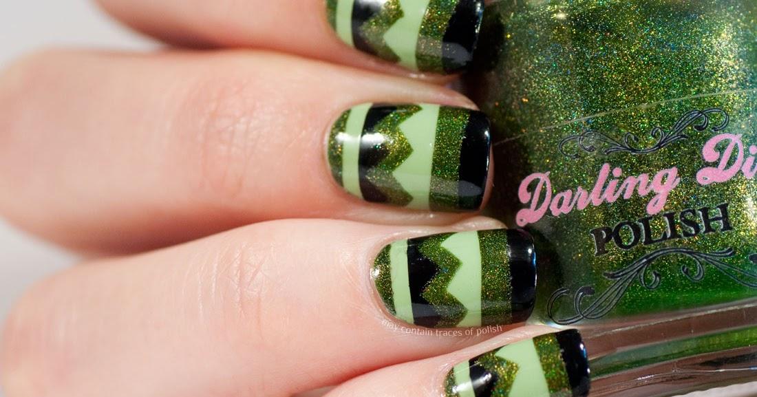 Green Chevron Nails - May contain traces of polish