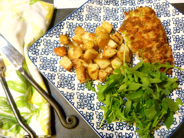 A SHEET PAN meal that both easy and quick to make for a weeknight meal that on the table in under 45 minutes!  Presto Pesto Panko Chicken with a Green Salad and Roasted Potatoes - Slice of Southern