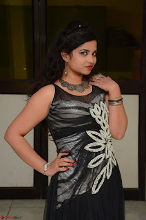 Shrisha Dasari in Sleeveless Short Black Dress At Follow Follow U Audio Launch 005.JPG