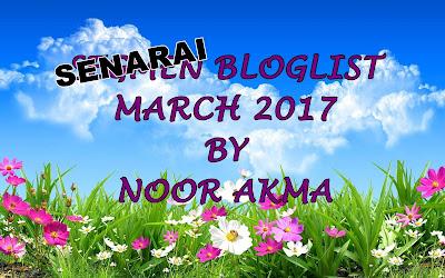 Senarai Bloglist March 2017, Semua Tersenarai... Ahaks!!!