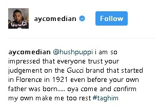 a3 - Comedian AY Poses With His Gucci Bag, Wants Hushpuppi To Confirm If It's Original (Photo)