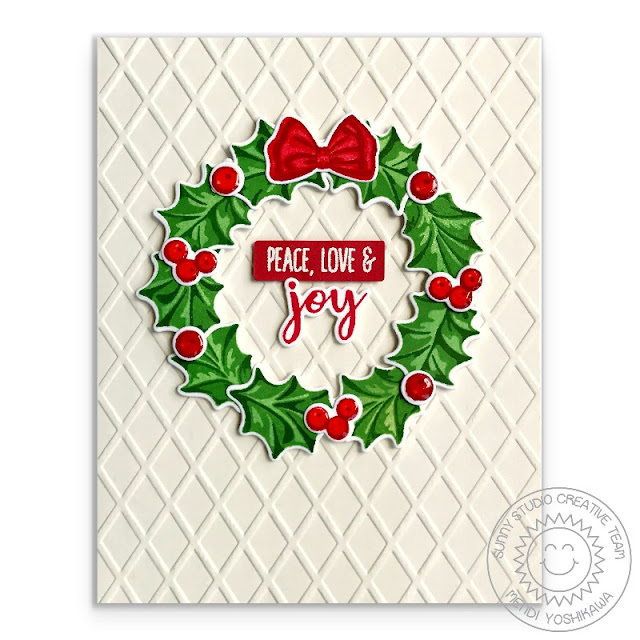 Sunny Studio Stamps: Christmas Trimmings & Dapper Diamonds Embossed Holiday Holly Wreath Card with Red Bow by Mendi Yoshikawa
