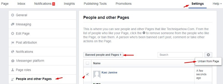 unban person from facebook page