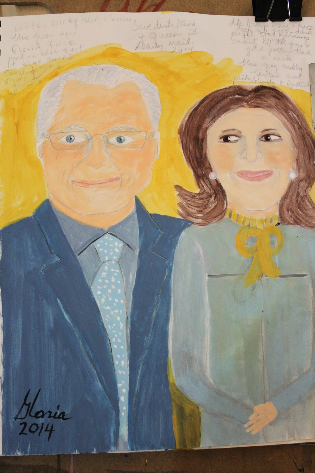 King Carl and Queen Silvia of Sweden sketch by Gloria Poole of Missouri; yr 2014