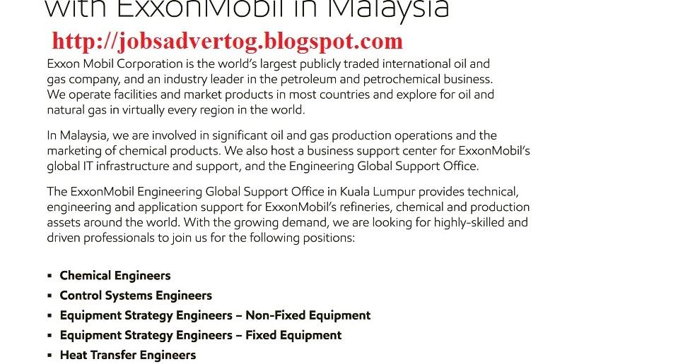 JOBSADVERTOG BLOGSPOT COM: ExxonMobil Exploration and