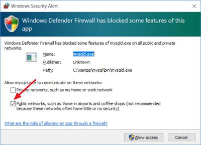 Windows Security Alert - mysqld