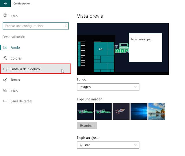 desactivar la publicidad y las imágenes promocionales de la pantalla de bloqueo