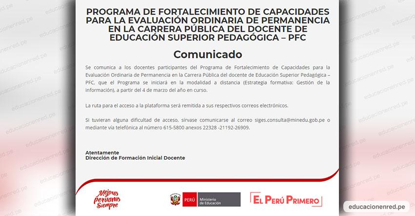 COMUNICADO MINEDU: Aplicación para el acceso a la plataforma «Programa de Fortalecimiento de Capacidades (PFC)»