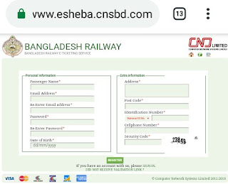 Bangladesh railway ticket registration form