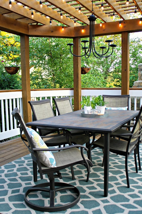Outdoor area with table and chairs