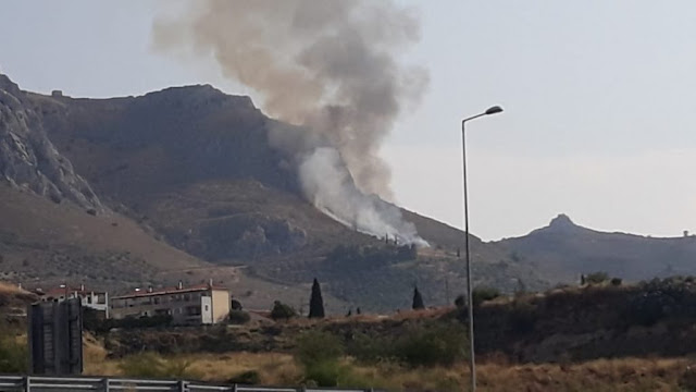 Υπό έλεγχο τέθηκε η πυρκαγιά στην Αρχαία Κόρινθο (βίντεο)