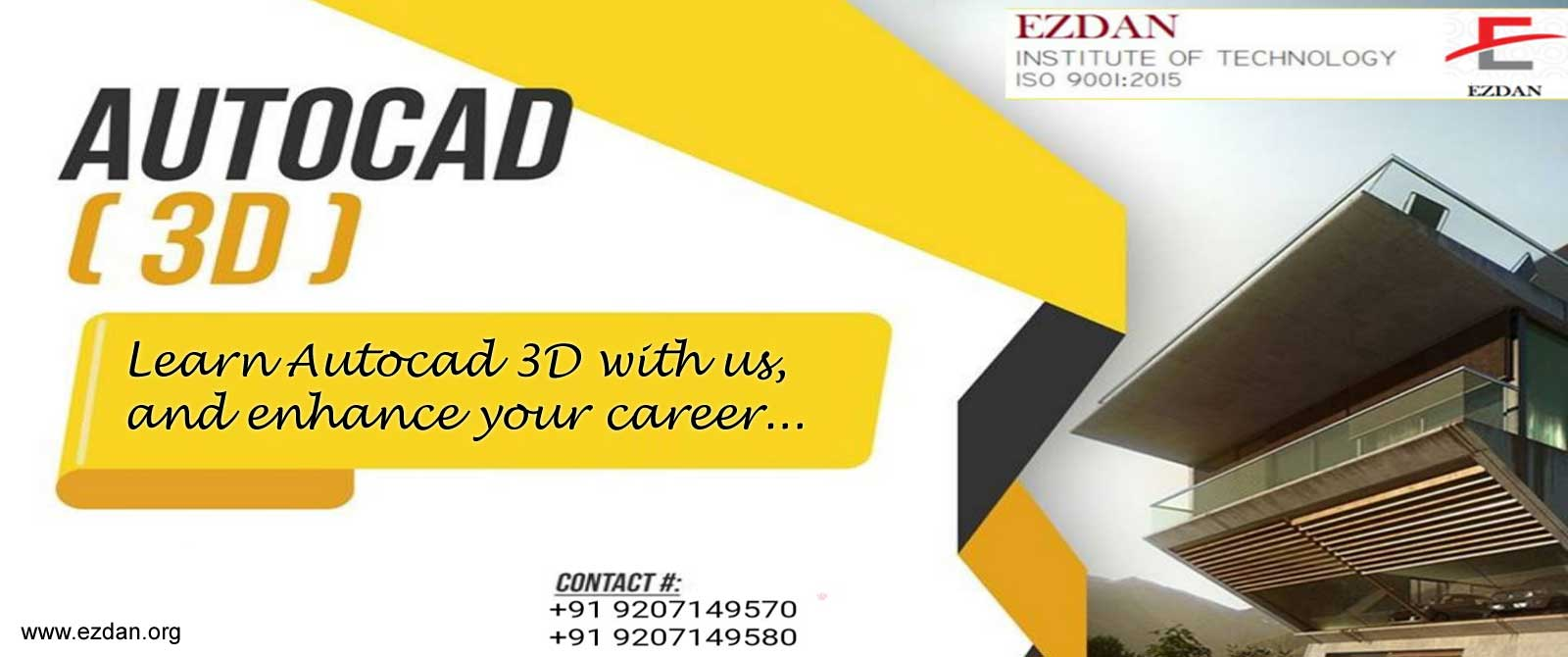 Learn Autocad ® 3D in Ezdan Institute and Enhance your Career...
