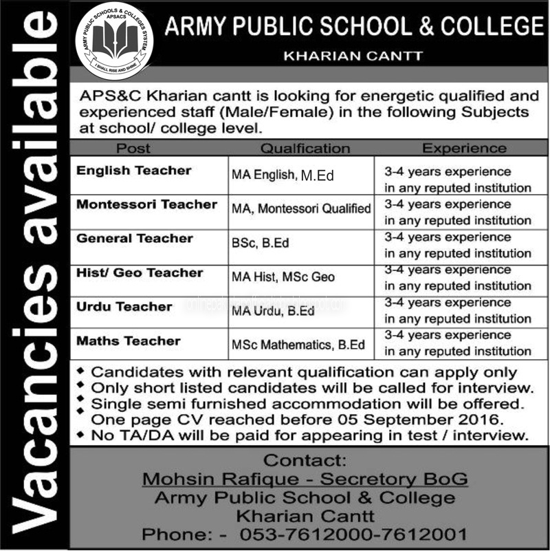 Army Public School and College Jobs 2016