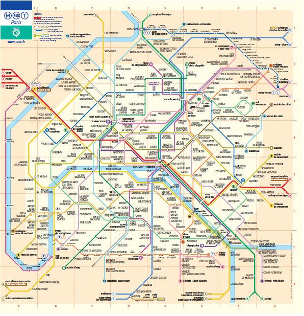 RER Metro Paryż w Paryżu Paris mapa map Francja France kolej i metro mapa