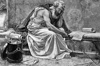 Arquímedes garabateando en la arena unas figuras geométricas.