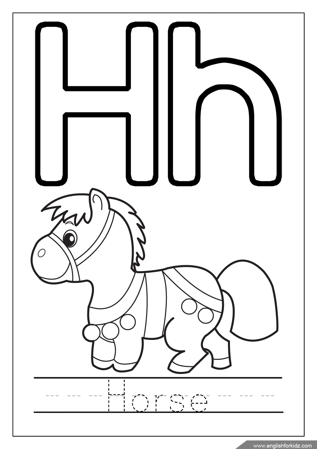 28 Letter H Colouring Sheet