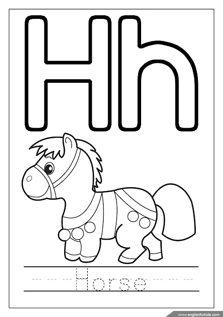 Alphabet coloring page, letter h coloring, h is for horse