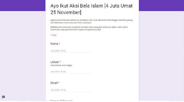 Waspada Dan Jangan Di isi! Jika Menemui Sebaran Seperti Ini, Intelijen Sedang Mengumpulkan Data Umat Muslim