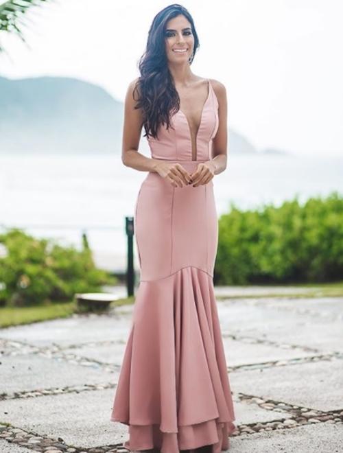 vestido longo rose