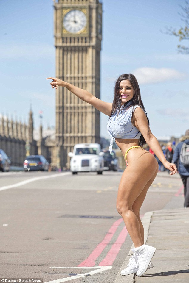 33B037F600000578-0-image-a-17_1462056687753 18+: Miss Bum Bum Brazil tours London in nothing but a thong and crop top
