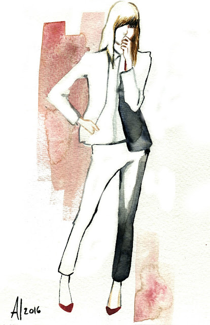 Fashion illustration watercolor by Alessia Landi - Al Draws