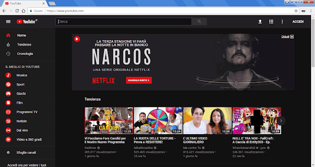 YouTube con grafica Tema scuro