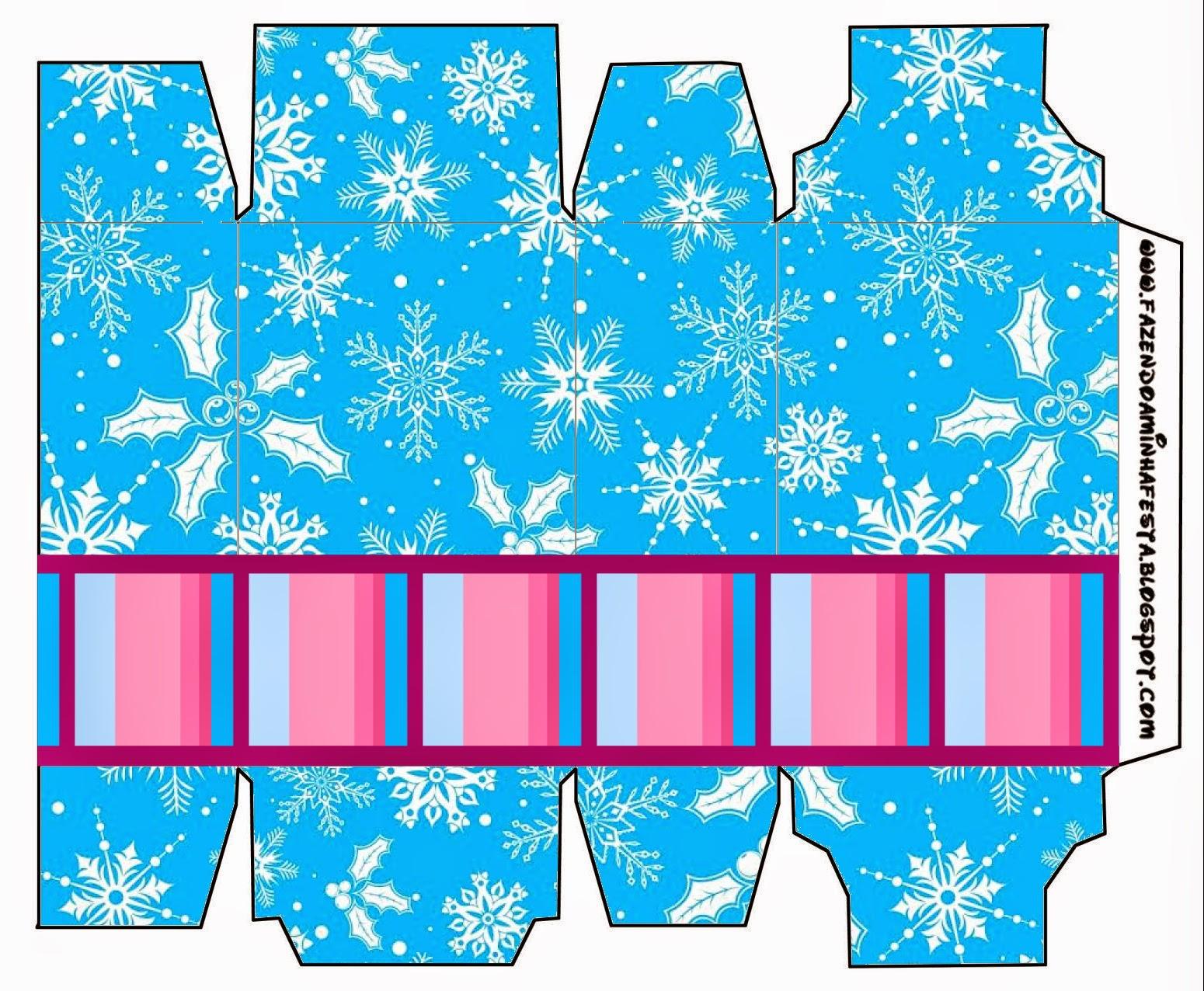 Cajas para imprimir gratis de Frozen en Morado y Celeste para Navidad.
