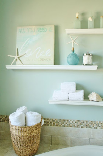 Beach quote art ideas for bathroom decor