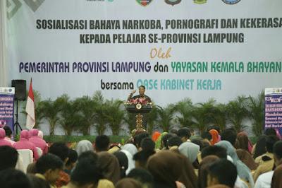 Pjs. Gubernur Lampung Jabarkan Pesan Ibu Negara tentang Bahaya Narkoba kepada Para Pelajar Se-Lampung