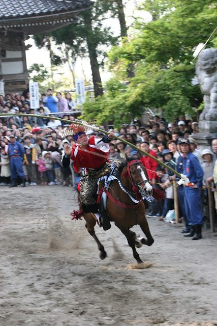 Yansanma (Yabusame as shooting of arrows while riding horses) at Kamo Shrine, Imizu City, Toyama Pref.