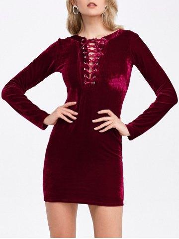 Velvet Lace-Up Long Sleeve Short Bodycon Dress - Deep Red