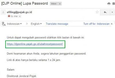 Contoh email dari efiling@pajak.go.id untuk djponline