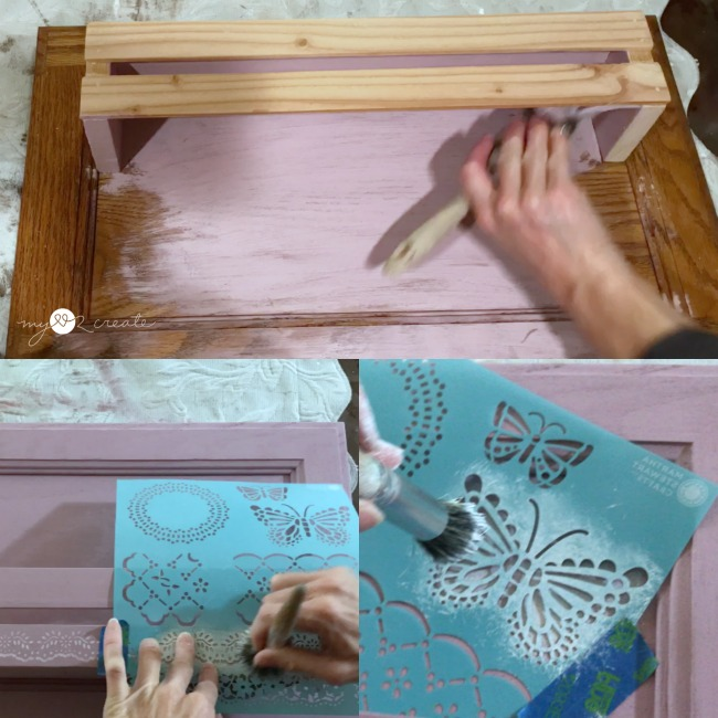 painting and stenciling cabinet door into a shelf