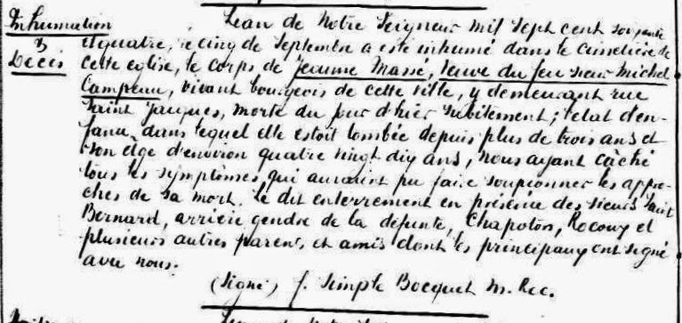 Burial record of Jeanne Massé in 1764 in Detroit